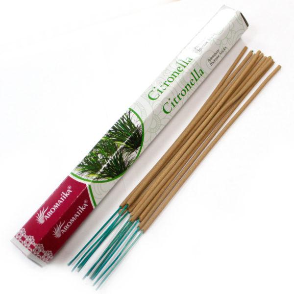 Aromatika Premium Vonné Tyčinky - Citronela Pri výrobe sa používa iba prírodný prášok z dreva, práškové kadidlo, živice a aromatické oleje. Sú netoxické
