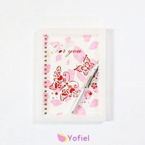 Krásný ružový zápisník v darčekovom balení - zápisník + pero.