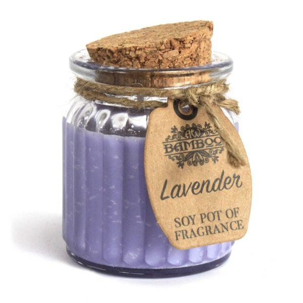 Sójová sviečka v skle s vôňou levanduľa. Výhoda sójového vosku spočíva v tom, že vynikajúco udržiava vôňu a uvoľňuje vôňu rovnomerne v priebehu horenia. Sójové sviečky horia čistejšie, chladnejšie, vydržia dlhšie ako parafínové sviečky