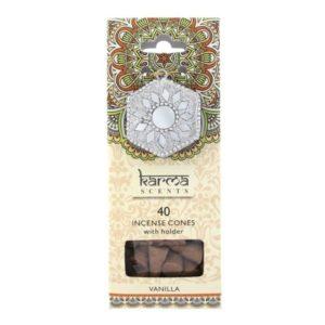 KARMA vonné kužele - Vanilka - krásne darčekové balenie. Mandala v balení slúži zároveň ako stojan.