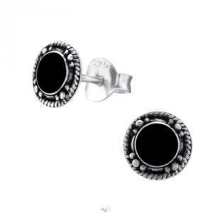 Strieborné 925 náušnice - čierne
