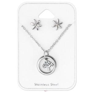 Sada Strom života obsahuje náušnice a náhrdelník - chirurgická oceľ