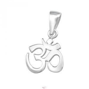 Strieborný 925 prívesok Óm. V hinduizme je Óm považovaný za posvätný zvuk. Používa sa v meditácii a považuje sa za ochranný symbol pred negatívnou energiou.