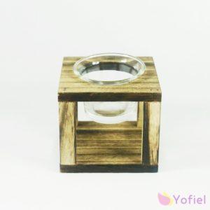 Rustikálny drevený svietnik na čajovú sviečku