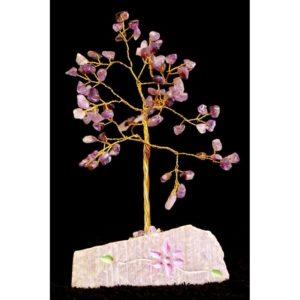 Stromček šťastia Ametyst 80 kamienkov Účínky prináša svojmu nositeľovy trpezlivosť, pokoj a mier. Je to chranný kameň, ktorý chráni pred negatívnou energiou