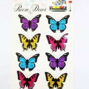 Nálepky na stenu Motýle Sada 8 farebných motýľov - modrý, ružový, fialový, žltý.