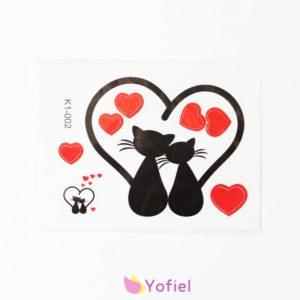 Predrezaná nálepka láska - mačky