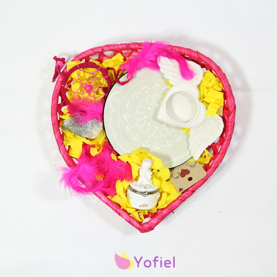Anjelský darčekový košík Srdce pre ženu: Mandala, svietnik anjelské trblietavé krídla, malá šperkovnica anjelkameň drúza celestín celestitlapač snov