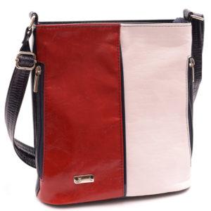 Dámska kabelka Trikolóra Praktická koženková kabelka oválneho tvaru. Taška má jednu komoru so zipsom, vo vnútri podšívkové vrecko a vrecko
