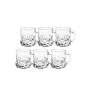 Štamperlíky s uškom 2CL sada 6 ks Sklenené poháriky na pálenku v tvare pivných pohárov Materiál: sklo Rozmery: 4,5 x 5,7 cm Objem: 2CL