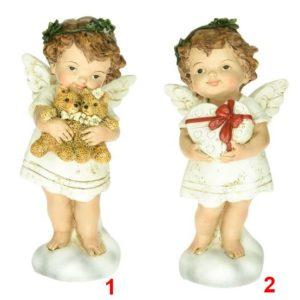 Soška Anjel farebný 12cm Anjelik v 2 variantoch - so srdcom alebo s medvedíkmi