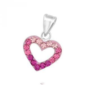 Srdce ružové strieborný prívesok