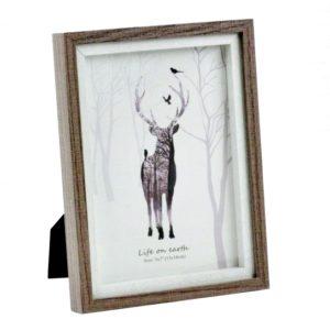 Rám na fotografiu Jeleň s ochranným sklom Fotorám možno položiť na poličku alebo zavesiť na stenu. 2 spôsoby zavesenia.