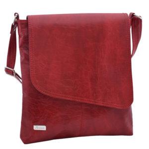 Dámska crossbody kabelka červená Trendová koženková kabelka pevného tvaru sklopou namagnet. Taška má jednu komoru sozipsom