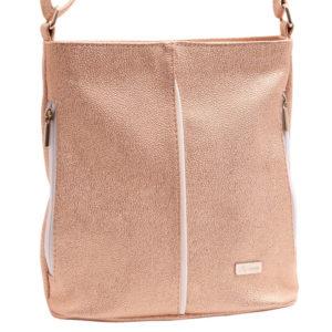 Dámska crossbody kabelka púder Praktická koženková kabelka oválneho tvaru. Taška má jednu komoru sozipsom, vo vnútri podšívkové vrecko