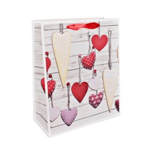 Darčeková taška Srdce papierová so saténovými rúčkami.