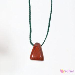 Macramé náhrdelník Červený Jaspis