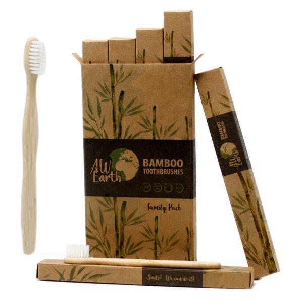 Bambusová zubná kefka Rodinné Balenie 4ks sú stredne mäkkéa príjemne sa držia pri čistený zubov. Čistia zuby rovnako ako štandardná plastová zubná kefka