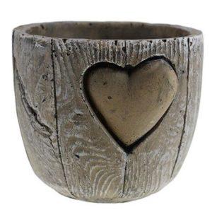 Kameninový obal na kvetináč Srdce Nádherná nádoba do interiéru aj exteriéru vhodná na menšie kvety, sukulenty či kaktusy.
