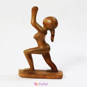 Abstraktná drevená socha - Jóga žena 15 cm Soška z exotického dreva predstavujúca ženu cvičiacu jógu Materiál: exotické drevo