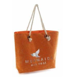 Veľká taška Mermaids oranžová taška vhodná na nákupy či na využitie ako cestovná alebo plážová taška. Zapinaná na zips, preto je všetko v bezpečí.