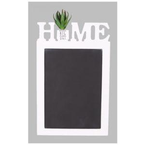 Drevená kriedová tabuľa HOME s bielym rámomVhodná na písanie kriedou Materiál: drevo Rozmery: 19 x 30 cm