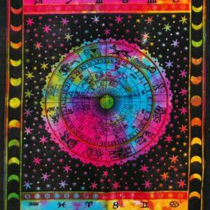 Bavlnená nástenná plachta - Zverokruh z Indie je skutočne umelecké dielo. Možno ho použiť aj ako plachtu či deku. Krásna dekorácia pri meditácii.