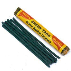 Tibetské vonné tyčinky Green Tara - Zelená Tara Tyčinky obsahujú 25 zložiek, medzi ktoré patrí napríklad šafrán, nagi, červené a biele santalové drevo.