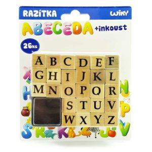 Abeceda - pečiatková sada Pečiatky v tvare písmen. Sada obsahuje 26 kusov + 1 podušku s atramentom.Nevhodné pre deti do 3 rokov