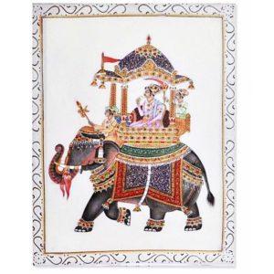 Obraz na plátne Indický slon 30 x 40 cm Reprodukcia obrazu na plátne. Motív s nádychom orientu - Indie Obraz má háčik na jednoduché zavesenie