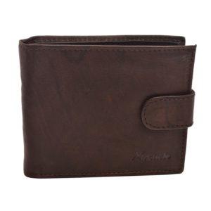 Pánska kožená peňaženka MERCUCIO Hnedá peňaženka z lícovej kože so zapínaním na patent - kvalitné spracovanie Materiál: pravá teľacia koža