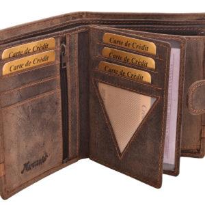 RFID Pánska kožená peňaženka MERCUCIO Pánska kožená peňaženka z prírodnej kože s dvomi mincovými priečinkami a ozdobným pásikom. Pravá hovädzia koža