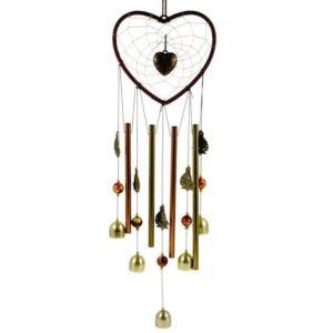 Feng shui kovová zvonkohra - lapač snov Srdce dokonalá dekorácia pre váš domov ale aj prostriedok na ochranu. Zaveste ho k dverám, ooknu či do altánku.
