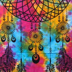 Bavlnená nástenná plachta – Lapač snov Plachta má všestranné použitie ako plachta na posteľ či ako obraz na stenu. Je ručne vyrábaný v Indii.