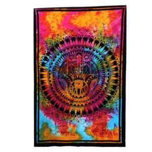Bavlnená nástenná plachta – tapiséria Hamsa 130x200cm má všestranné použitie ako plachta na posteľ či ako obraz na stenu. Je ručne vyrábaný