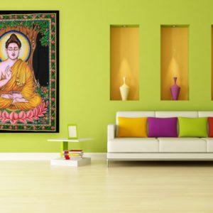 Bavlnená nástenná plachta BUDDHA Krásna dekorácia pri meditácii. Na rozdiel od lacných strojovo a masovo vyrábaných výrobkov majú tieto látky jasné farby