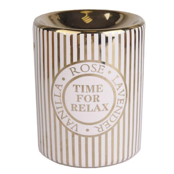 Keramická aromalampa Time for relax zlatá Elegantná zlatá aromalampa s nápisom svojim netradičným dizajnom určite vynikne.
