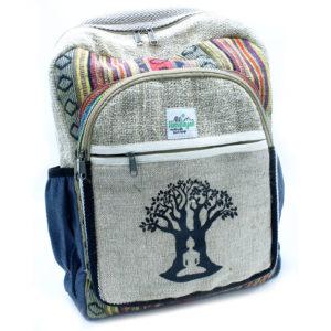 Konopný batoh Strom života - Budha Eko batoh vyrobený z čistého konope a bavlny v Katmandu v Nepále. Šetrný k životnému prostrediu.