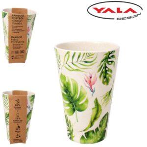 Bambusový eko pohár Kvety Ekologický pohár vyrobený z recyklovaného bambusu s motívom kvetov. Materiál: 65 %recyklovaný bambus