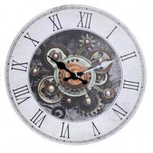 Industriálne nástenné hodiny Drevené nástenné hodiny s industriálnym motívom - rímske čísla.