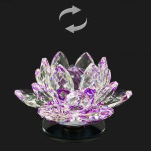 Krištáľový lotosový kvet otáčací fialový Nádherná dekorácia, ktorá je vhodná aj ako darček pre šťastie Lotos je symbolom znovuzrodenia