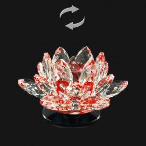 Červený krištáľový lotosový kvet – otáčací Nádherná dekorácia, ktorá je vhodná aj ako darček pre šťastie Lotos je symbolom znovuzrodenia, šťastia, krásy