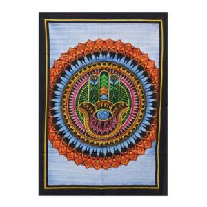 Ručne maľovaný bavlnený obraz - plachta Hamsa Vynikajúca kvalita a krásne navrhnuté vzory týchto ručne maľovaných obrazov sú doplnené značkou AW-Artisan