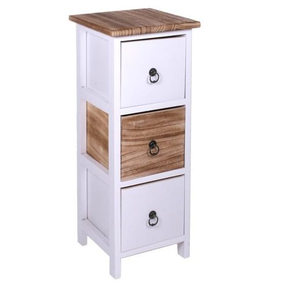 Úzka dekoračná komoda Provensal Komoda s 3 šuflíkmi a kovovými úchytkami. Farba: biela/prírodné drevo