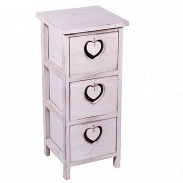 Úzka dekoračná komoda Provensal - Srdce Komoda s 3 šuflíkmi a detailom vysiaceho srdca. Farba: biela - patina