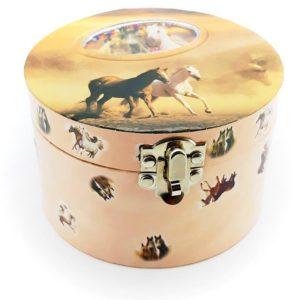 Hrajúca špekovnica kone po otvorení začne hrať a koník sa začne otáčať. Vnútorná strana šperkovnice vystlaná mäkkou ružovou látkou.