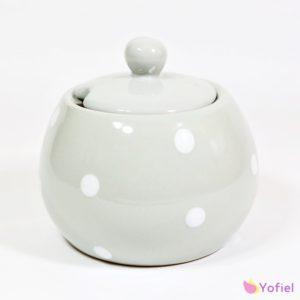 Bodkovaná keramická cukornička sivej farby Materiál: keramika Rozmery: 11x9cm