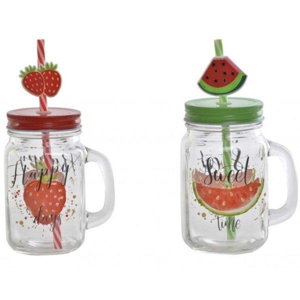 Sklenený pohár so slamkou Pohár v 2 variantoch - Jahoda / Melón Rozmer: 8x11x19cm Materiál: sklo, plast, kov