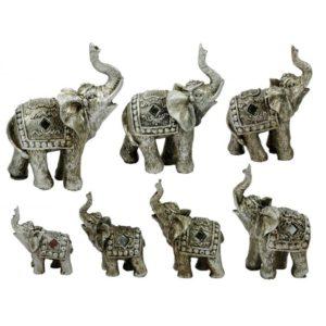 Indický dekoračný slony - sada 7ks Sada 7 kusov dekoračných slonov Materiál: polyresin Rozmery: 6-12 cm