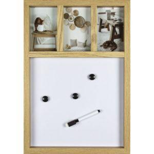 Fotorám a písacia tabuľa v jednom Rám pre 3 fotografie formátu 10x15cm a tabuľou 29x28cm V balení 1 zmývateľná fixa a 3 magnetky